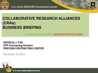 COLLABORATIVE RESEARCH ALLIANCES CRAs BUSINESS BRIEFING