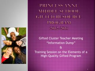 Princess Anne  Middle School  Gifted Resource  Program 2012-2013