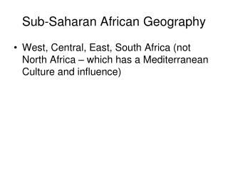 Sub-Saharan African Geography