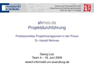 ah mes.de Projektdurchführung Professionelles Projektmanagement in der Praxis Dr. Harald Wehnes
