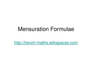 Mensuration Formulae