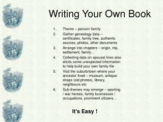 Writing Your Own Book