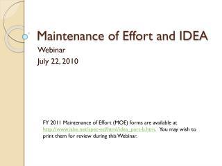 Maintenance of Effort and IDEA