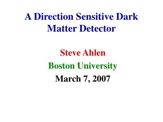 A Direction Sensitive Dark Matter Detector