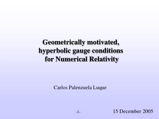 Geometrically motivated,  hyperbolic gauge conditions   for Numerical Relativity