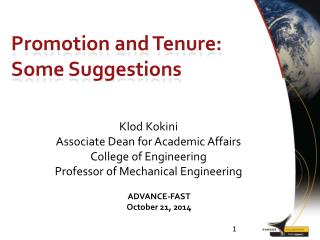 Promotion and Tenure: Some Suggestions