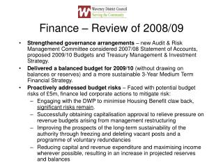 Finance – Review of 2008/09
