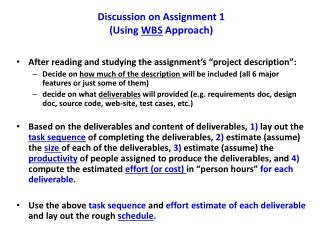 Discussion on Assignment 1 (Using  WBS  Approach)