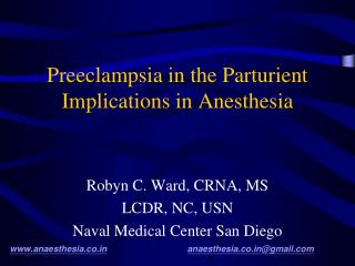 Preeclampsia in the Parturient Implications in Anesthesia