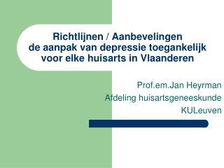Richtlijnen / Aanbevelingen de aanpak van depressie toegankelijk voor elke huisarts in Vlaanderen