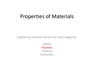 Properties of Materials