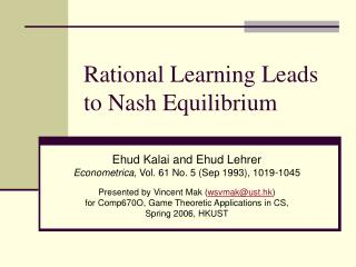Rational Learning Leads to Nash Equilibrium