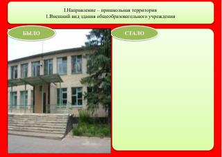 I. Направление – пришкольная территория 1.Внешний вид здания общеобразовательного учреждения