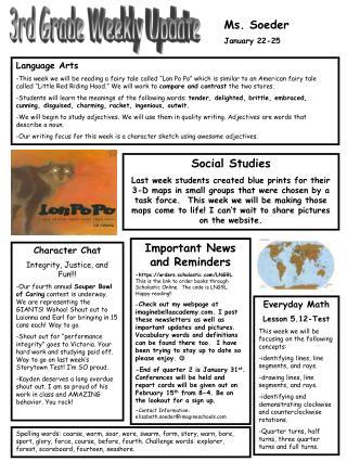 Ms. Soeder January 22-25
