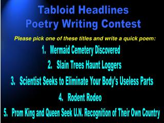 Tabloid Headlines Poetry Writing Contest
