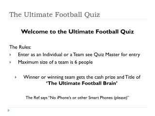 The Ultimate Football Quiz