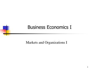 Business Economics I