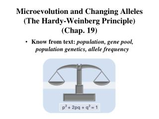 Microevolution and Changing Alleles (The Hardy-Weinberg Principle) (Chap. 19)