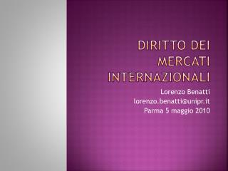 Diritto dei mercati internazionali