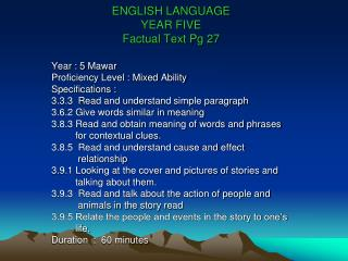 ENGLISH LANGUAGE  YEAR FIVE  Factual Text Pg 27
