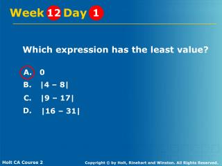 Which expression has the least value?