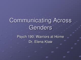 Communicating Across Genders