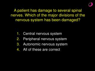 Central nervous system Peripheral nervous system Autonomic nervous system All of these are correct