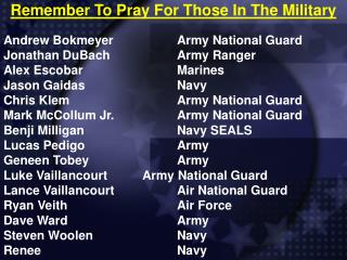Remember To Pray For Those In The Military
