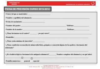 FICHA DE PREVISIÓN CURSO 2013-2014