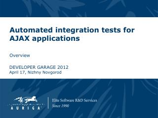 Automated integration tests for AJAX applications