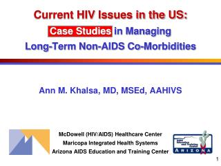 Current HIV Issues in the US: Case Studies  in Managing Long-Term Non-AIDS Co-Morbidities