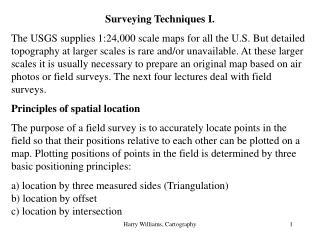 Surveying Techniques I.