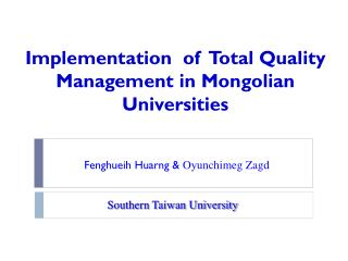 Implementation  of  Total Quality Management in Mongolian Universities