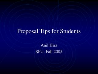 Proposal Tips for Students
