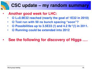 CSC update – my random summary