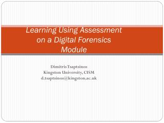 Learning Using  Assessment on  a Digital Forensics Module