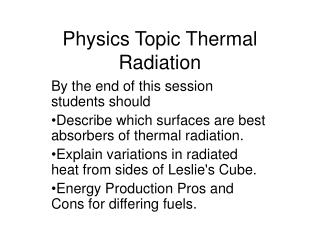 Physics Topic Thermal Radiation