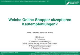 Welche  Online-Shopper akzeptieren Kaufempfehlungen?