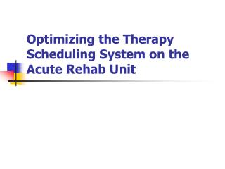 Optimizing the Therapy Scheduling System on the Acute Rehab Unit