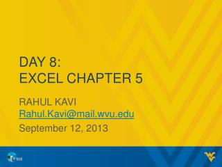 Day 8: Excel Chapter 5