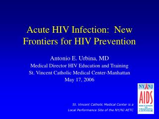 Acute HIV Infection:  New Frontiers for HIV Prevention