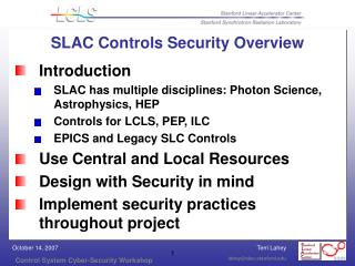 SLAC Controls Security Overview
