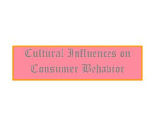 Cultural Influences on Consumer Behavior