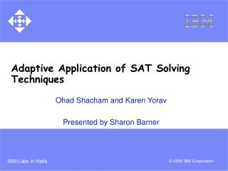 Adaptive Application of SAT Solving Techniques