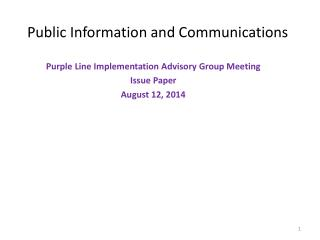 Public Information and Communications