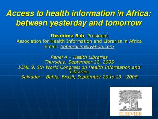 Access to health information in Africa: between yesterday and tomorrow