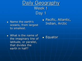 Daily Geography Week 1 Day 1