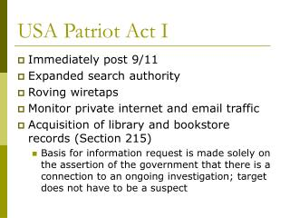 USA Patriot Act I