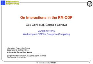 On Interactions in the RM-ODP Guy Genilloud, Gonzalo Génova