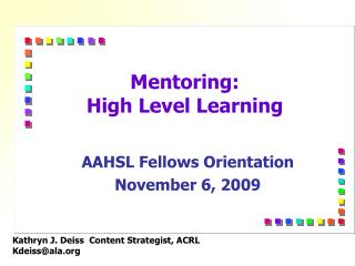 Mentoring: High Level Learning